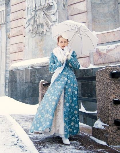 Nice blue coat in the Russian national style for a winter bride. #bride #dress #Russian #weddings