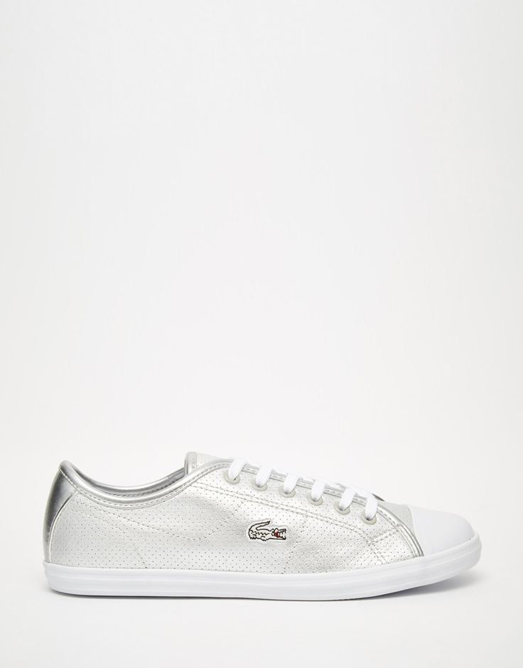 Lacoste Ziane Silver Leather Lace Up Sneakers