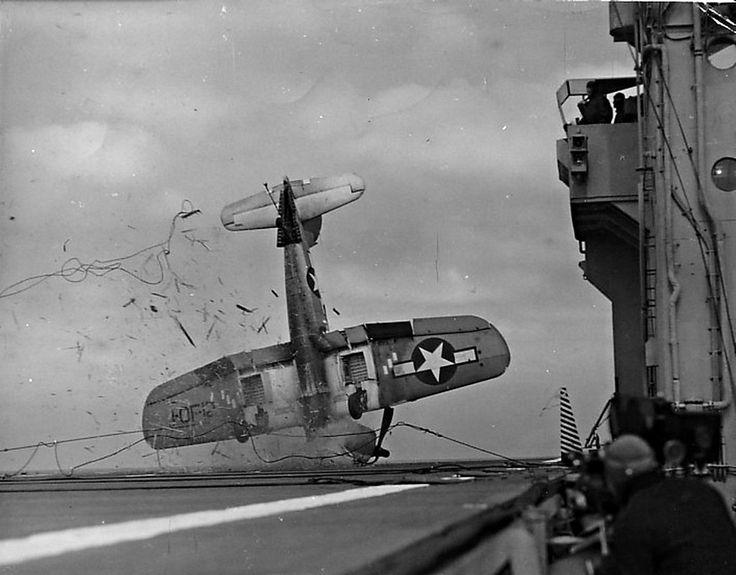 A F4U Corsair crash landing on the USS Shangri La, unknown month in 1945