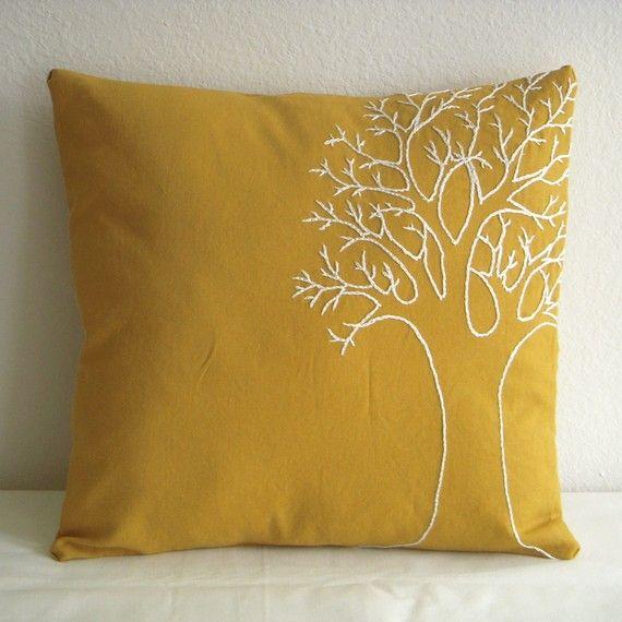 Funda de almohada de árbol amarillo