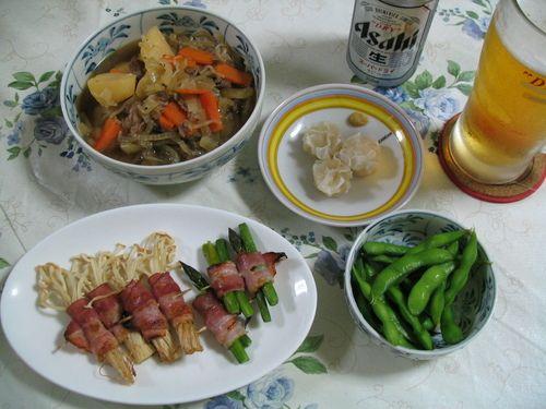 夜ご飯(101013)アスパラ&えのきベーコンと肉じゃが献立