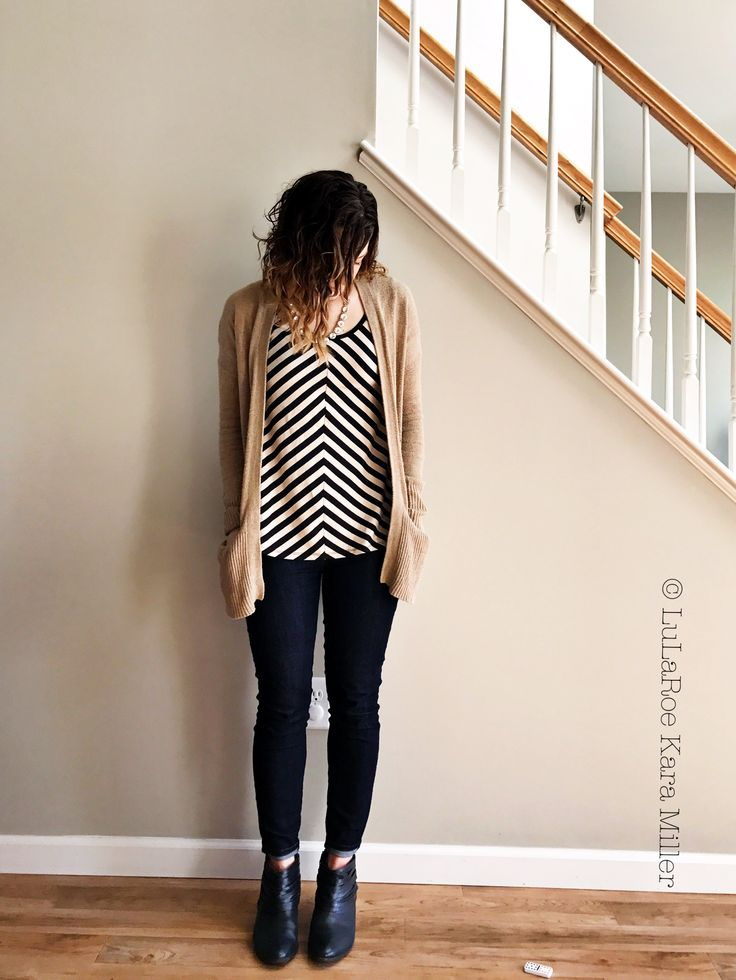 LuLaRoe Striped Classic tee with open Cardigan and high waisted jeans. Clark's booties. For spring fashion and neutral mixing and fashion trends and inspiration.  Shop here: https://m.facebook.com/groups/lularoekaramiller/