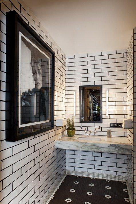 subway tile bathroom: Bathroom Design, White Tile, Black And White, Black White, Wine Bar, White Subway Tile, White Bathroom, Tile Bathroom, Powder Rooms