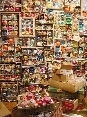 WOW...wonderful collection of vintage ornaments, I have a great many but probably not this much!