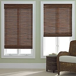 36x64 Quot Bamboo Roman Shade In Pecan 40 Curtains And