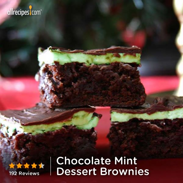 Chocolate Mint Dessert Brownies | Add green food coloring to the frosting for St. Patrick's Day Flair. Repin for your St. Paddy's day party!