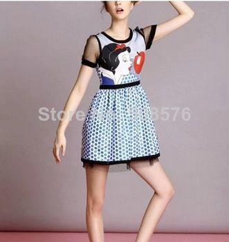 New Fashion Ladies' elegant snow white dot print Dress O neck short lace sleeve causal slim evening party brand design