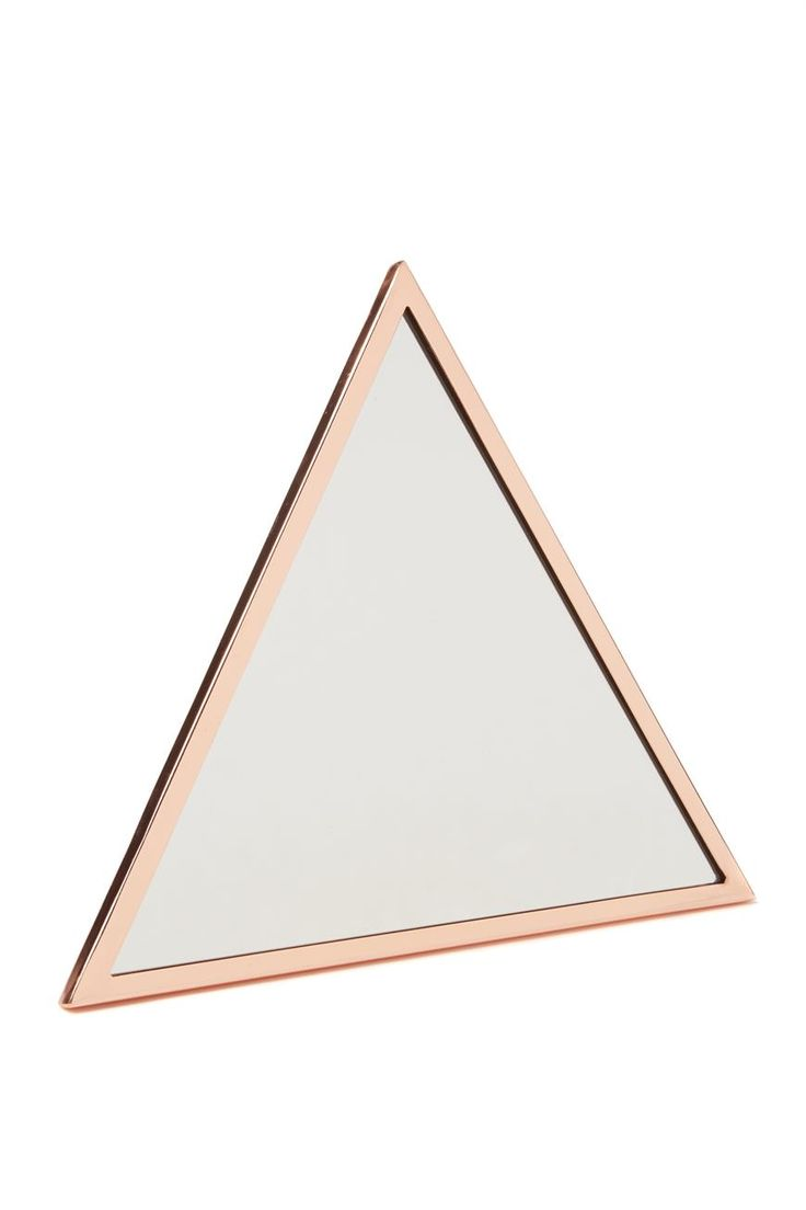 This triangle mirror with rose gold edging is a sleek and stylish edition to any room. <br> Create a unique feature wall in any living space. Get one or a few and arrange them in a creative way. <br> Dimensions: 34cm x 30cm. <br> Composition 70% Glass, 30% Metal <br/>