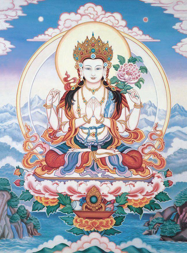 Chenrezig, The Bodhisattva of Compassion. http://1.bp.blogspot.com/_bU89HXeRyeA/TA07Yu-blUI/AAAAAAAAAOQ/sUDv4FBCpio/s1600/chenrezig.jpg