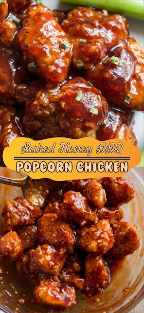 Baked Honey BBQ Popcorn Chicken | Floats CO #chick…