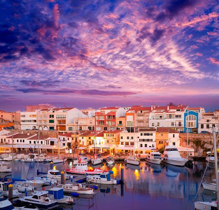 Ciutadella Menorca marina Port sunset with boats