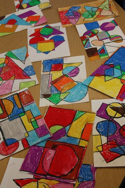 Piet Mondrian inspired--use oil pastels (or crayons?) and sharpie-traced geometric shapes
