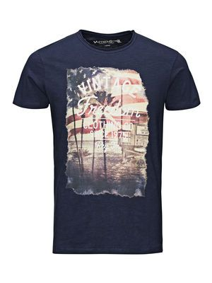 IMPRIMÉ DRAPEAU SLIM FIT T-SHIRT, Mood Indigo