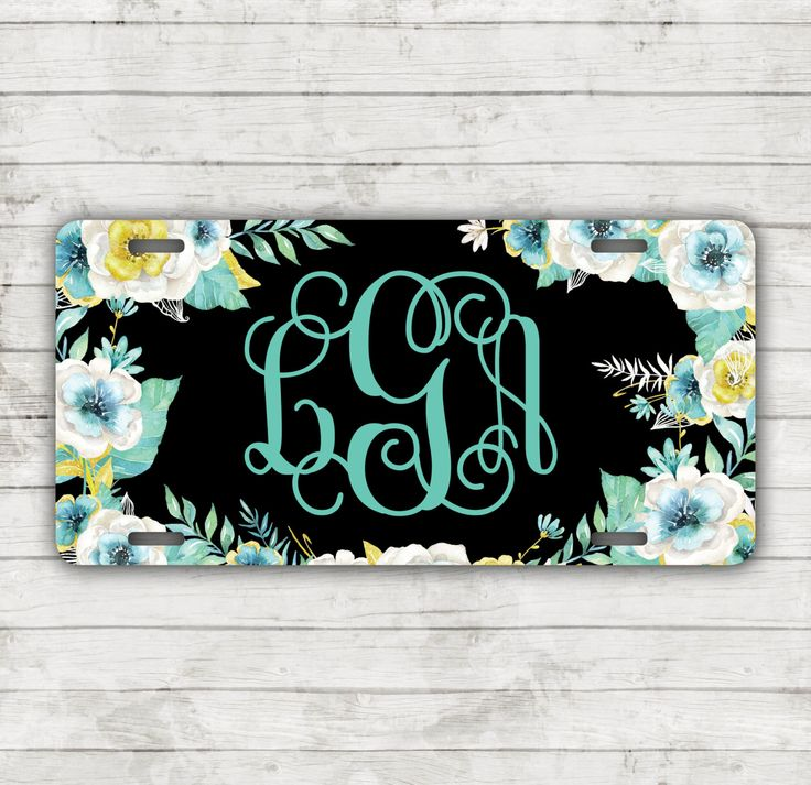 Classy Floral Front License Plate Personalized Monogrammed Black Car Tag Car Accessories Gift Sweet 16 Cute Car Accessories For Women by ChicMonogram on Etsy