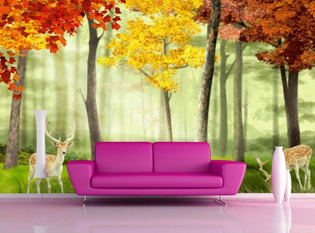 décoration murale multi-couleur paysage romantique les cerfs dans la forêt