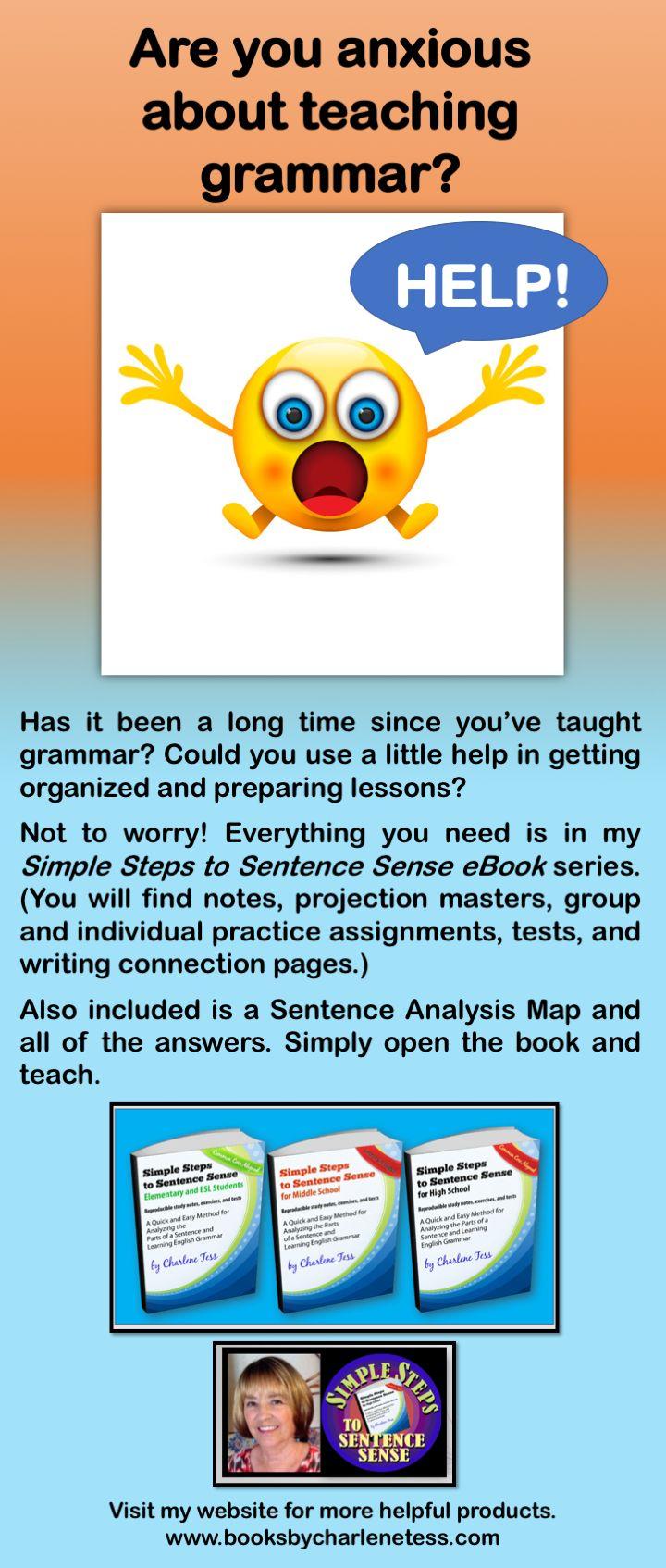 Teach #grammar the easy way with #SimpleStepstoSentenceSense #teaching grammar high school