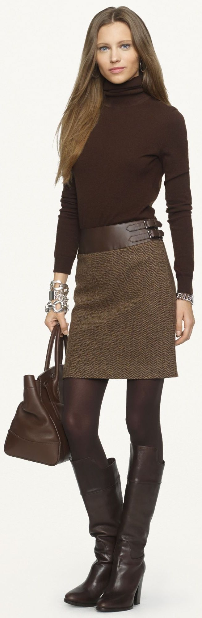 Ralph Lauren Black Label - Leather-Trimmed Kieron Skirt