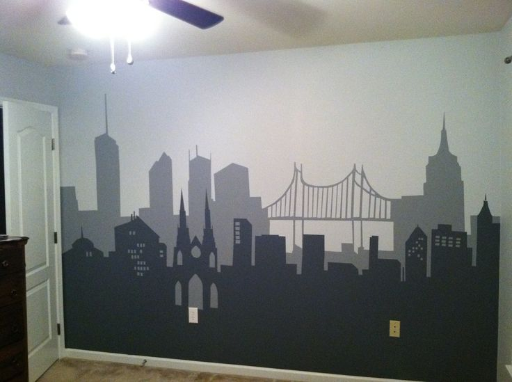 Batman bedroom i painted for son using clipart silhouettes for City themed bedroom designs