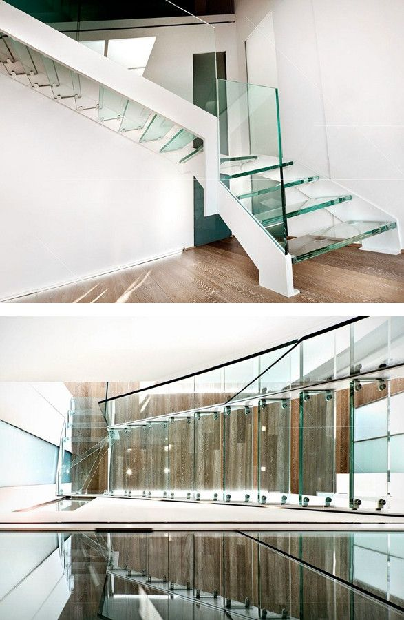 Open stairs VISTA FASCIA by OFFICINE SANDRINI #staircase #glass