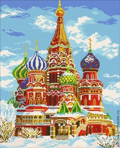 Схема для вышивки бисером полной зашивкой Храм Василия Блаженного - купить схему вышивки