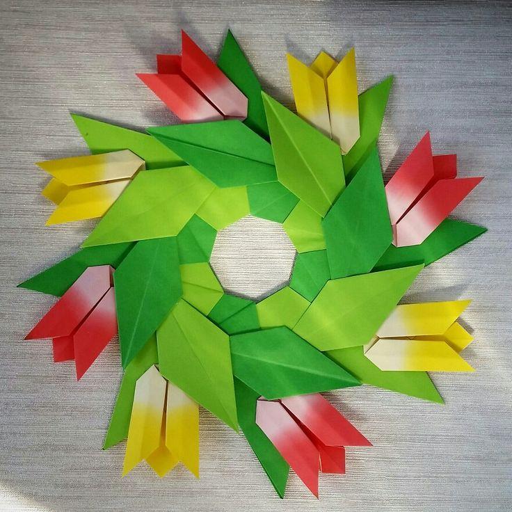 Origami tulips wreath Folded by Majomajo