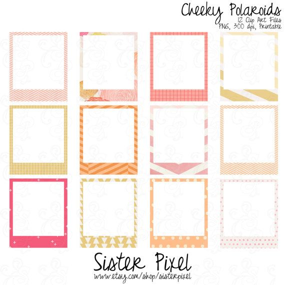 Pink, yellow & orange polaroid frames clip art. So fun!
