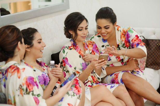 Cute colorful bridesmaid robes (Genya + Erik Shenko Photography)
