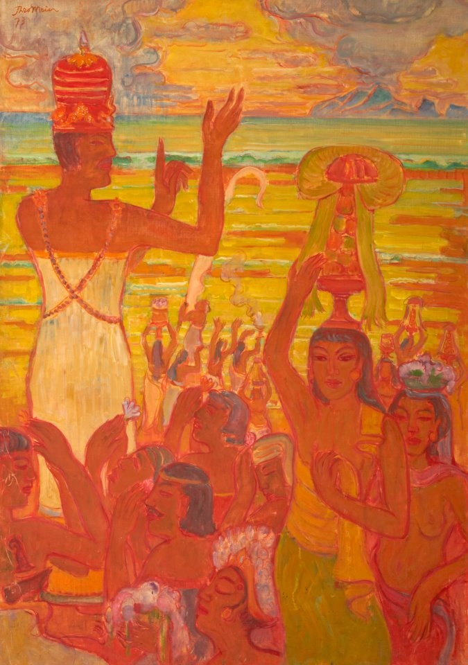 Theo Meier Ceremony Sanur Beach. 1973.  Oil on canvas