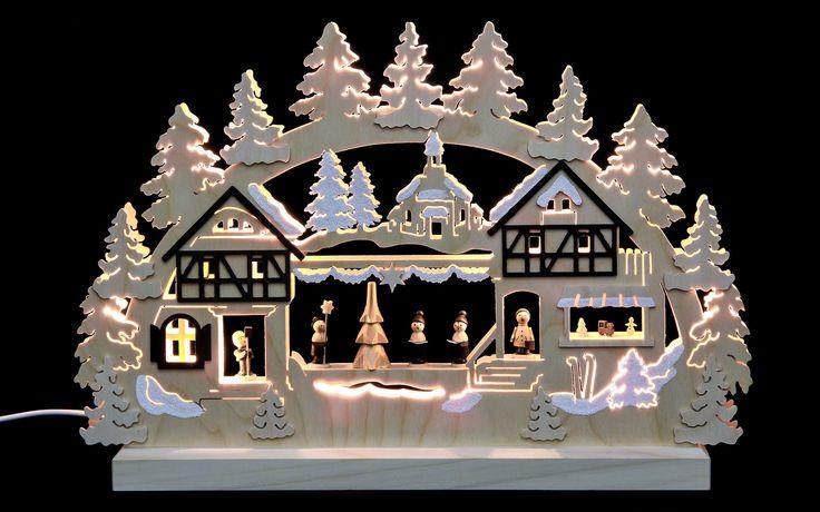 3D-Double-Arch - Seiffen Christmas Fair - 42x30x4,5 cm / 16x12x2 inches