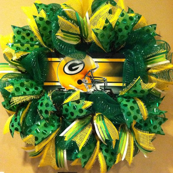 Green Bay Packers Wreath, Packers sport wreath, deco mesh wreath on Etsy, $62.00