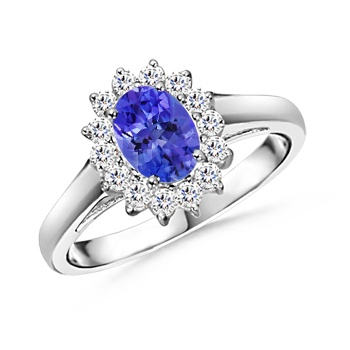 Angara Solitaire Tanzanite Ring with Beaded Halo LchIED