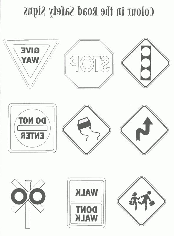 Road Sign Coloring Road Safety Signs Traffic Signs Preschool Worksheets