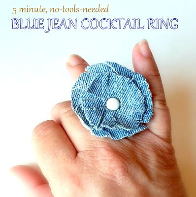DIY Denim Cocktail Ring: Jeans Cocktails, Denim Cocktails, Cocktails Rings, Cocktail Rings, Diy Denim, Blue Jeans, Diy Jewelry, Fabrics Rings, Abc Jewelry