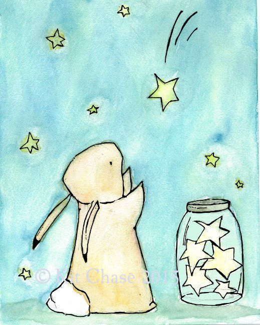 Make a wish, catch a star... - art print from an original watercolor, gouache, and acrylic painting by Kit Chase. - archival matte paper and ink - vertical print - ships worldwide from the U.S. - wate