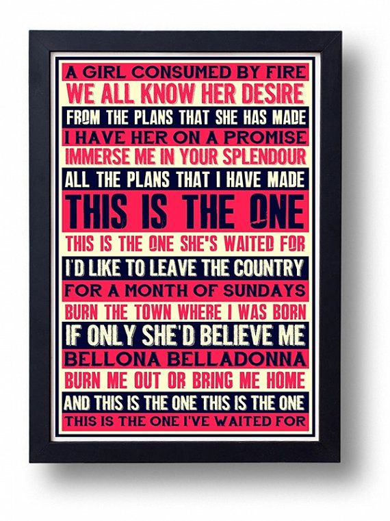 Stone Roses This Is The One Lyric Typography  Art by indieprints, $18.00