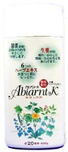 """ABIANTOK 400g by YUUTOKUYAKUHINNKOUGYOU. $62.70. Japanese retail packaging ( Manual and instruction, if any, are in Japanese only. ). Size: 75 * 190 * 55 (mm). Net weight: 400g. """"ABIANTOK 400g"""" is a medicated bath additive containing 6 kinds of Herb extract which will condition your skin by giving moisture. Also, it contains enzymes and Citrus unshiu peel powder and Citrus junos powder, lemon, and powder. It warms body, its ingredients enhances hot bath efficacy and effect of the..."""
