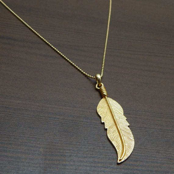 Feather Pendant With Ball Chain Necklace 22k by darlingpiece