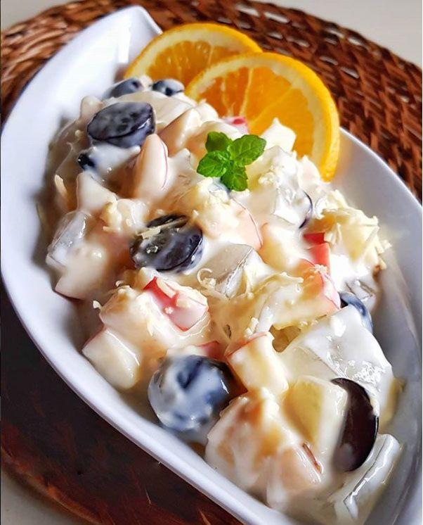 Resep Salad Buah Apel Pear Dan Anggur Hitam Resep Salad Makanan Dan Minuman Resep