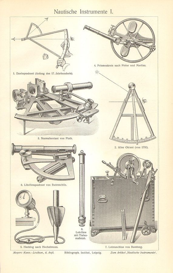 1905 Antique Engraving of Nautical Instruments on Etsy, $16.95