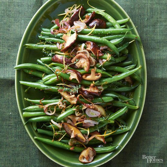A stunner of a side dish, this snappy green bean recipe is filled with hearty mushrooms and subtle shallots -- the perfect combination! Pair it with mashed potatoes and chicken or turkey for a classic dinner./