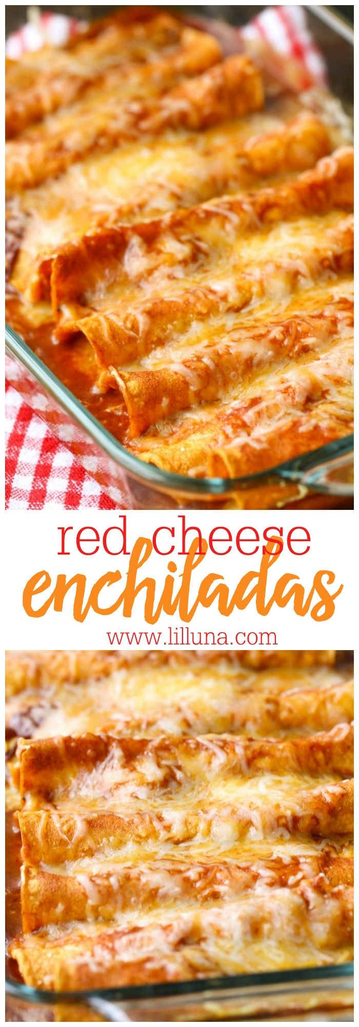 Restaurant-Style Red Cheese Enchiladas - an old family favorite recipe that is simply the best. Corn tortillas filled with cheese, tomato sauce, chile puree, salt & garlic pepper and topped with more cheese!