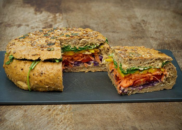 Vegan Shooter's Sandwich. Hollowed out bagel??