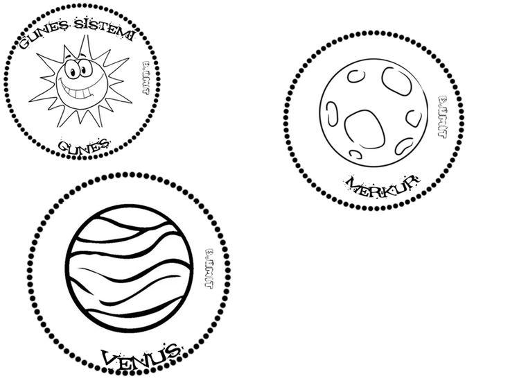 Gunes Sistemi Venus Merkur Gunes Gezegenler Uzayda Yolculuk Boyama Sayfalari