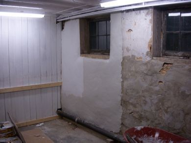Solution for crumbling parging on 85yo basement walls for Concrete basement walls