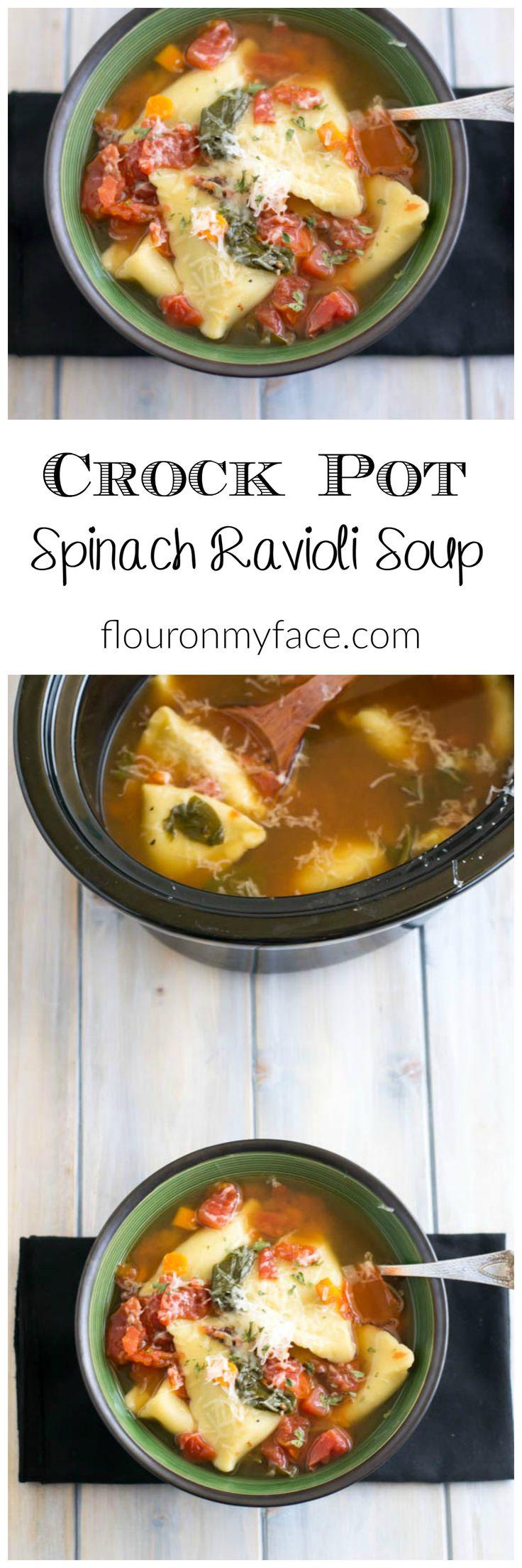Crock Pot Slow Cooker Spinach Ravioli Soup recipe via flouronmyface.com
