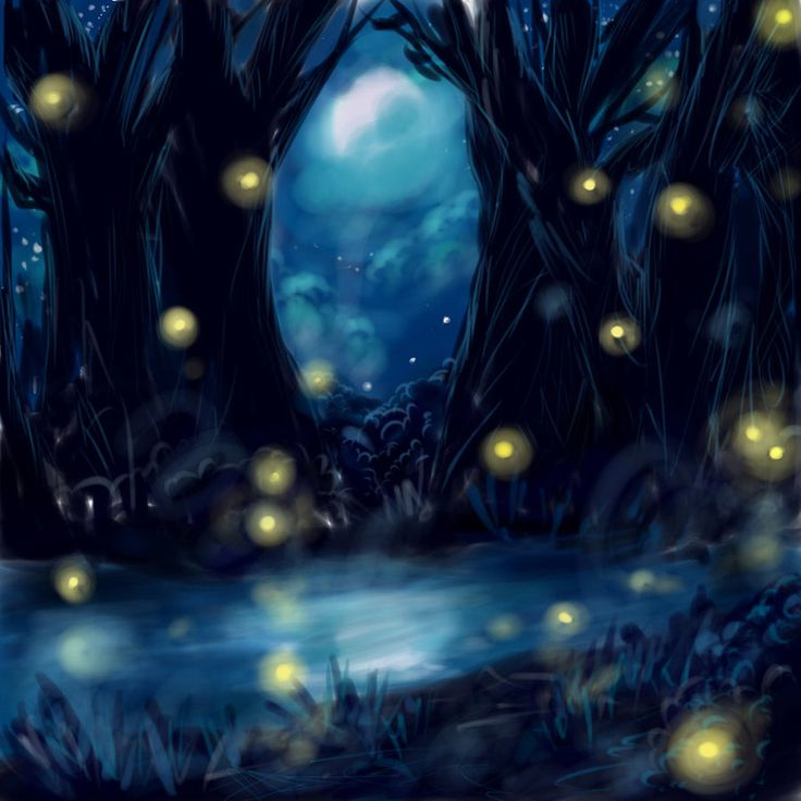 Old Room At Dusk: Forest Night With Fireflies By