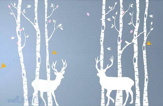 Birch tree wall decals Birch forest and deer wall murals Giant tree wall stencils White tree wall sticker Tree birds wall decal-13