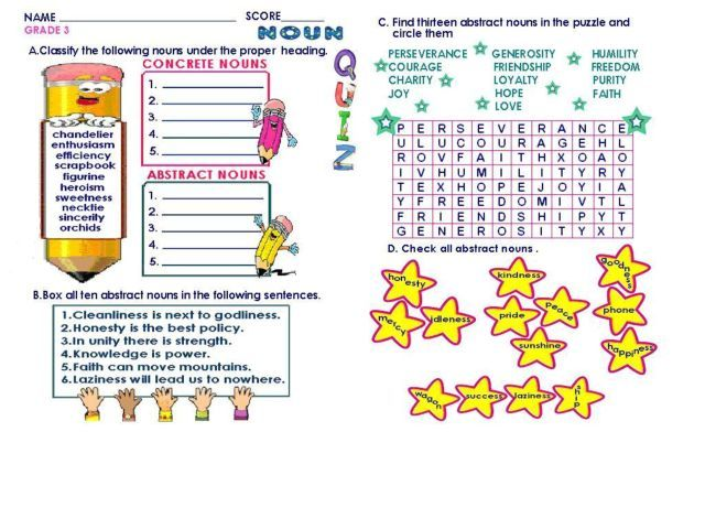 Concrete And Abstract Nouns Worksheet Lesson Planet