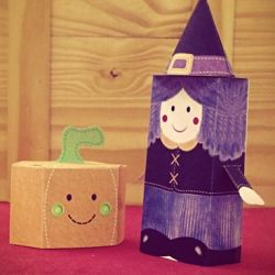 How to make a witch and a pumpkin paper toys! (in Portuguese)