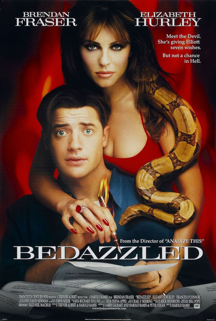 Bedazzled , starring Brendan Fraser, Elizabeth Hurley, Frances O'Connor, Miriam Shor. Hopeless dweeb Elliot Richards is granted 7 wishes by the devil to snare Allison, the girl of his dreams, in exchange for his soul. #Comedy #Fantasy